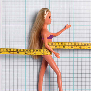 a picture of a barbie doll placed on graph paper (abstract), link loads PDF document in new browser window