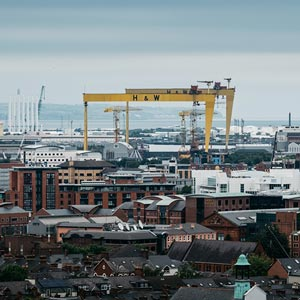 a picture of belfast city docks
