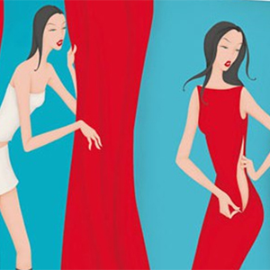 picture of illustrated women trying clothes on, link opens in new browser window