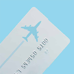 picture of an airplane and credit card